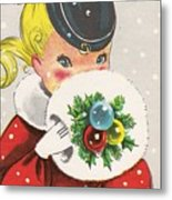 Christmas Greetings 1236 - Vintage Christmas Cards - Little Girl With Snow Ball Metal Print
