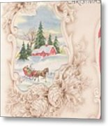Christmas Greetings 1251 - Vintage Christmas Cards - Snowy Cottage Metal Print