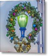 Christmas Holiday Wreath With Balls Metal Print