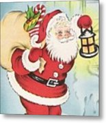 Christmas Illustration 1216 - Vintage Christmas Cards - Santa Claus With Christmas Gifts Metal Print