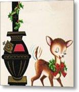 Christmas Illustration 1217 - Vintage Christmas Cards - Reindeer Metal Print