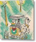 Christmas Illustration 1218 - Vintage Christmas Cards - Horse Drawn Carriage Metal Print