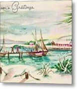 Christmas Illustration 1220 - Vintage Christmas Cards - Landscape Painting Metal Print