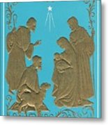 Christmas Illustration 1227 - Vintage Christmas Cards - Mother Mary With Infant Jesus Metal Print