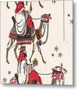 Christmas Illustration 1234 - Vintage Christmas Cards - Three Kings On Camel Metal Print