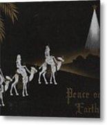 Christmas Illustration 1238 - Vintage Christmas Cards - Three Kings On Camel Metal Print