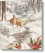 Christmas Illustration 1239 - Vintage Christmas Cards - Christmas Robins On Pine Leaves Metal Print