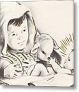 Christmas Illustration 1248 - Vintage Christmas Cards - Infant Jesus On Crib Metal Print