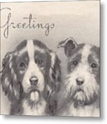 Christmas Illustration 1252 - Vintage Christmas Cards - Two Dogs Metal Print
