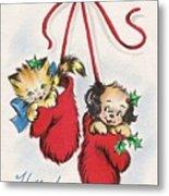 Christmas Illustration 1253 - Vintage Christmas Cards - Little Dog And Kitten Metal Print