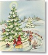 Christmas Illustration 15 - Winter Ladscape During Christmas Time Metal Print