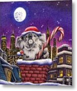 Christmas Koala In Chimney Metal Print