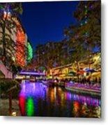 Christmas Lights On The Riverwalk 2 Metal Print