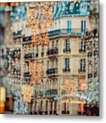 Christmas Lights Paris At Twilight Metal Print