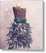Christmas Mannequin Dressed In Fir Branches Metal Print