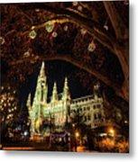 Christmas Market At The Vienna City Hall Metal Print