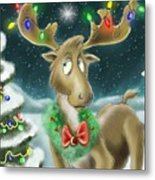 Christmas Moose Metal Print by Hank Nunes