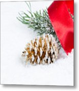 Christmas Objects On Snow  Metal Print