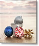 Christmas Ornaments On The Beach Metal Print