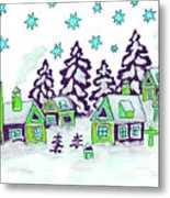Christmas Picture In Green And Blue Colours Metal Print