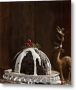 Christmas Pudding With Cream Metal Print