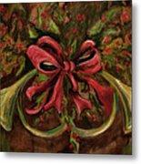 Christmas Red Ribbon Metal Print