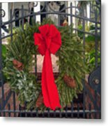 Christmas Ribbon On Iron Door Metal Print