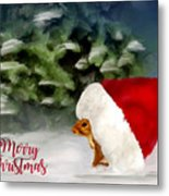 Christmas Squirrel  Greeting Card Metal Print