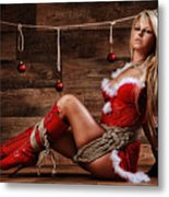 Christmas Babe - Fine Art Of Bondage Metal Print