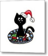 Christmas Train Kitty Cat Metal Print