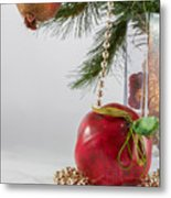 Christmas Tree Branch And Decoration In A Vase Metal Print