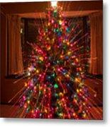 Christmas Tree Light Spikes Colorful Abstract Metal Print