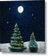 Christmas Trees In The Moonlight Metal Print