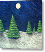 Christmas Trees In The Snow Metal Print