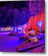 Christmas Trees Row And Frozen Lake View Metal Print