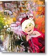 Christmas With My Sheep Metal Print