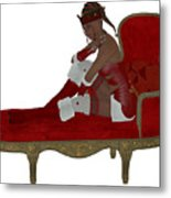 Christmas Woman On Couch Metal Print