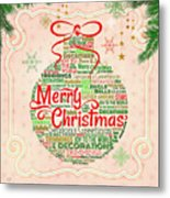Christmas Words Ornament Metal Print
