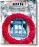 Christmas Wreath Old Quebec City Metal Print