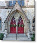 Christmas Wreaths On Red Church Doors Metal Print