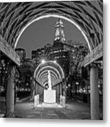 Christopher Columbus Park Boston Ma Trellis Statue Black And White Metal Print