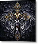 Jesus On The Cross Silver Metal Print