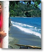 Christy At The Beach Metal Print