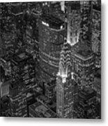 Chrysler Building Aerial View Bw Metal Print