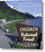Chugach National Forest Sign And Scenic Metal Print