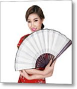 Chunese Lady In Chinese Dress Metal Print