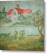 Church Across River Metal Print