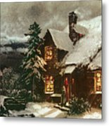 Church And Cottage With Lighted Windows Metal Print