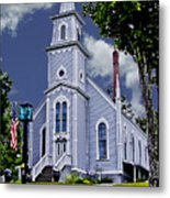 Church And Flag Metal Print