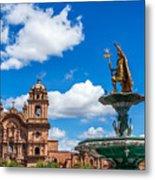 Church And Fountain In Cusco Peru Metal Print